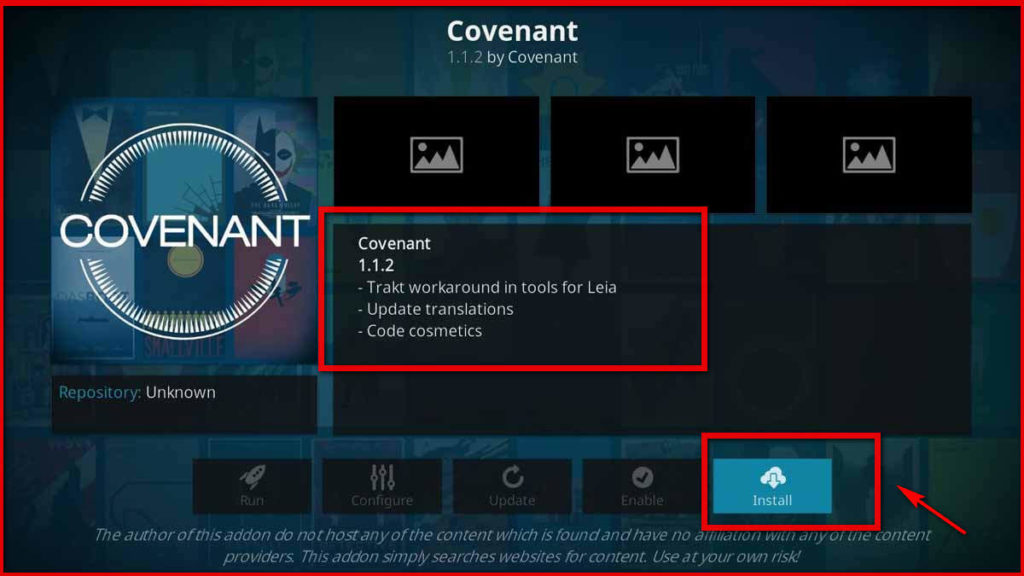 Covenant kodi 5th image install